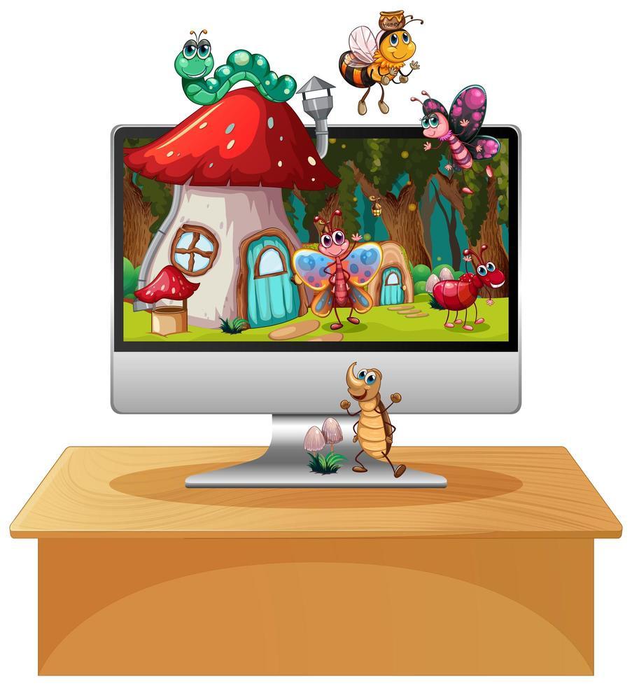 gelukkig insect op computer achtergrondscherm vector