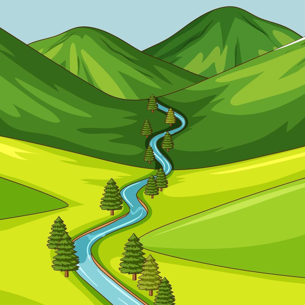 lege groene natuurscène met lange rivier vector