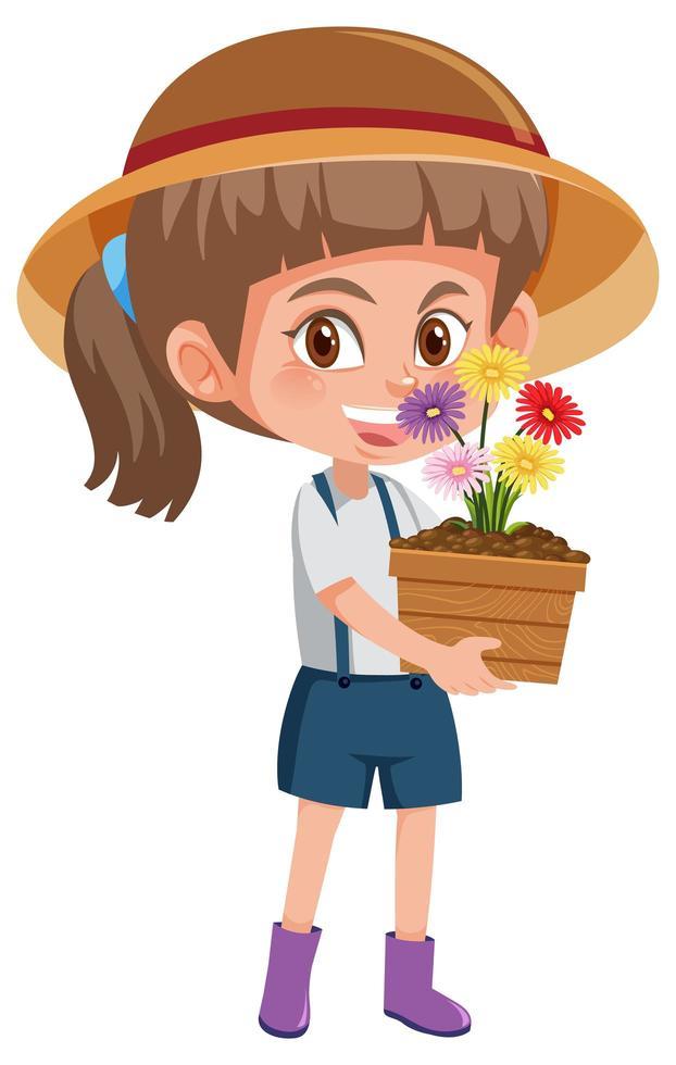 meisje met bloem in pot stripfiguur geïsoleerd op een witte achtergrond vector