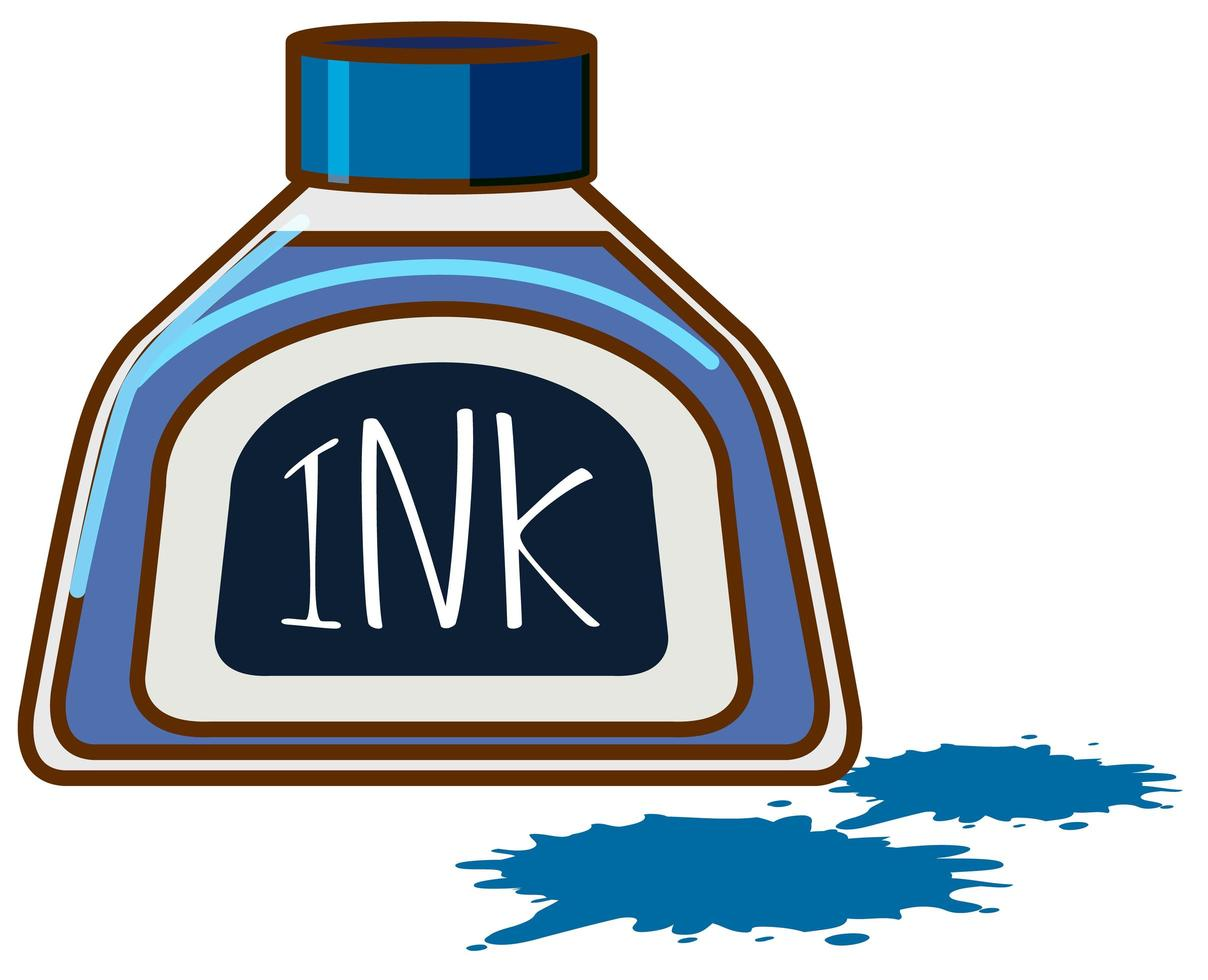 fles blauwe inkt op witte achtergrond vector