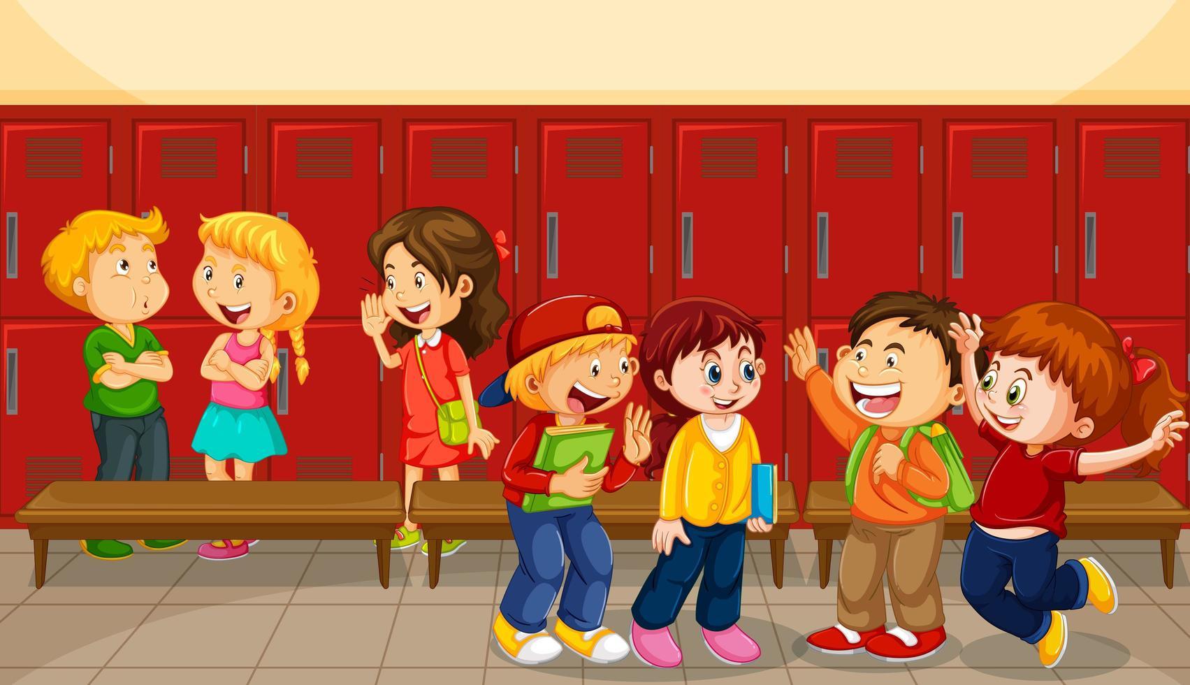 kinderen praten met hun vrienden met schoolkluisjes achtergrond vector