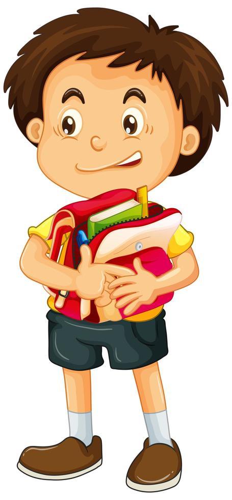 jongen met schooltas vector
