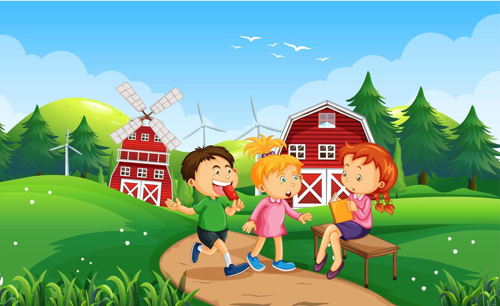 kinderen bij ourdoor natuur achtergrond vector