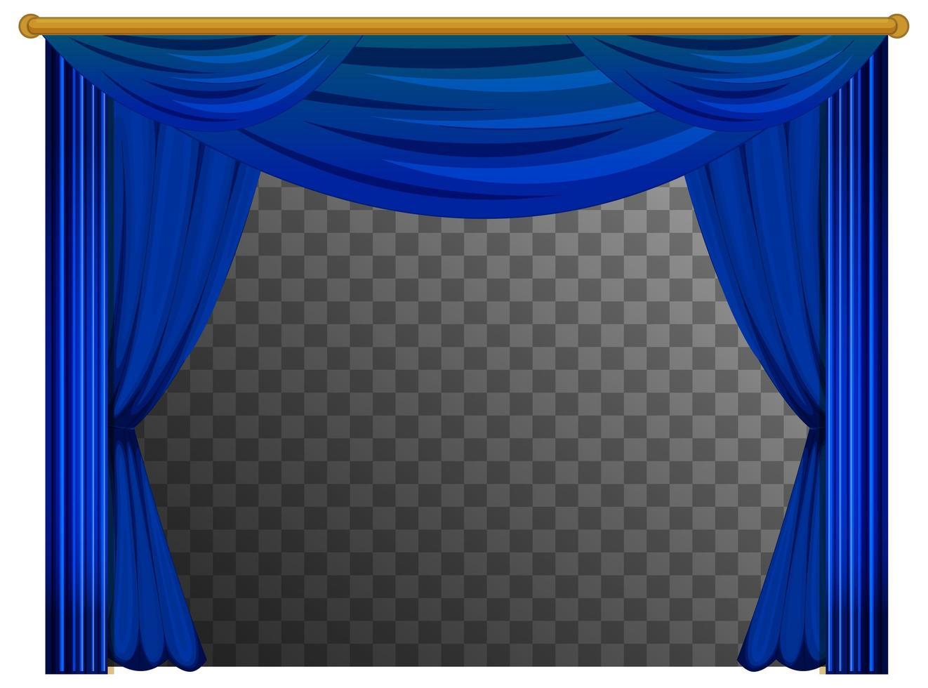 blauwe gordijnen met transparante achtergrond vector
