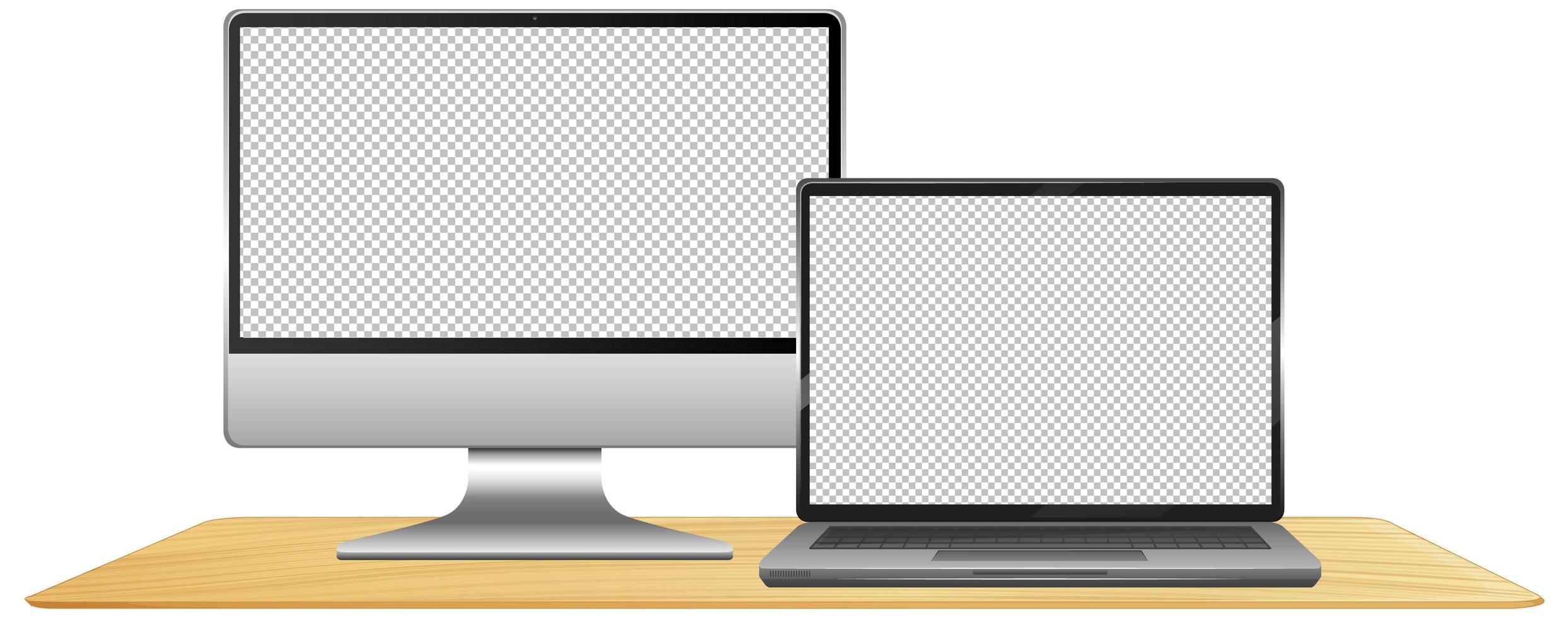 set van computer lege achtergrond vector