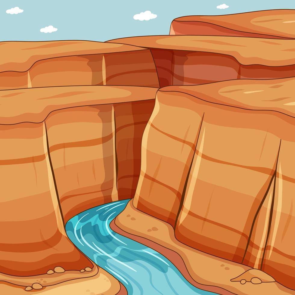 grote canyon met rivier achtergrondscène vector