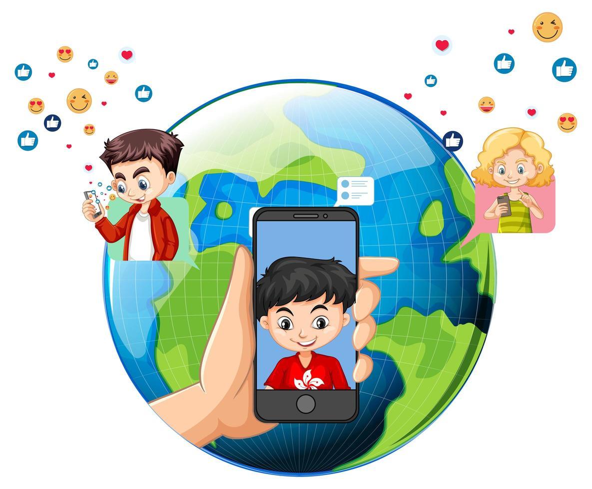 kinderen met sociale media-elementen op aardebol vector