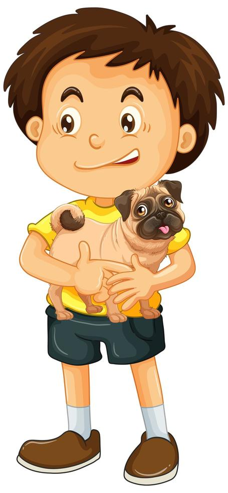jongen met zijn hond geïsoleerd vector