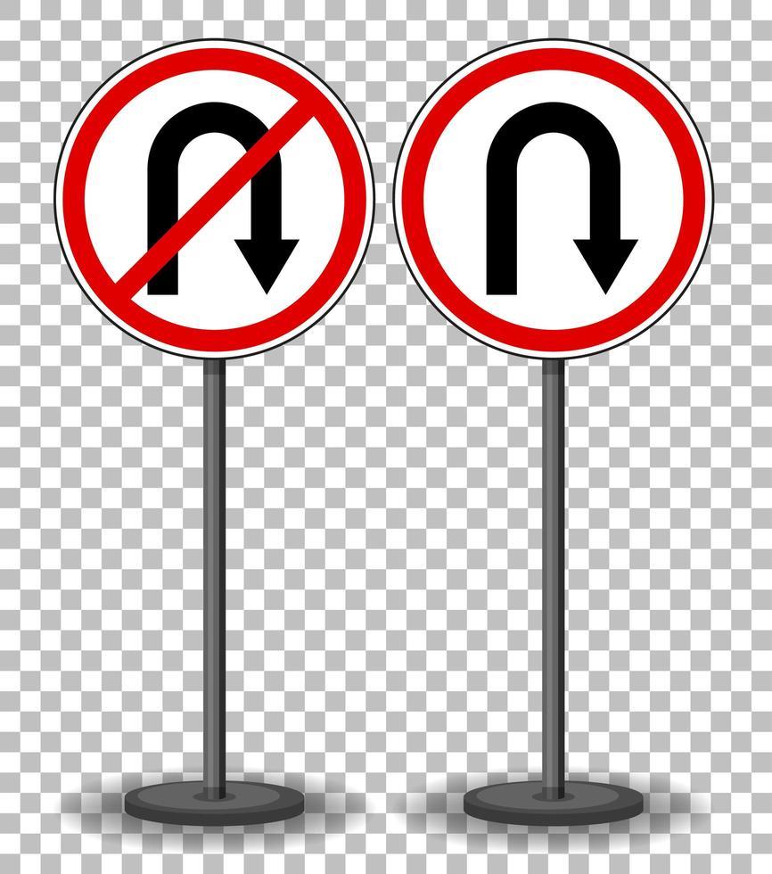 u-bocht en geen u-bocht bord met standaard geïsoleerd op transparante achtergrond vector