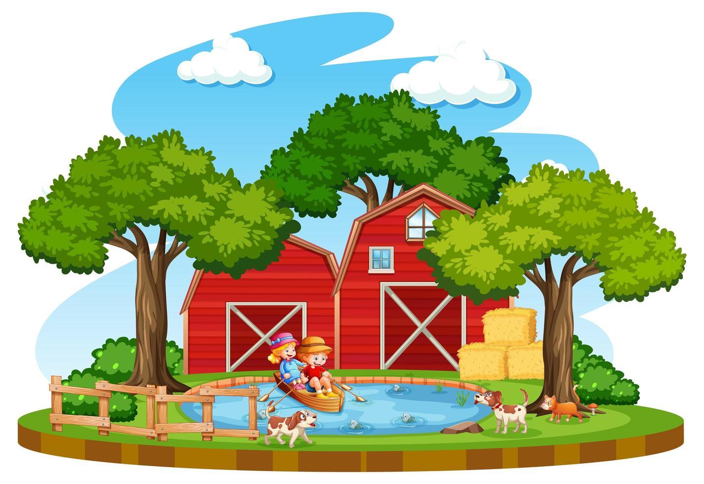 boerderij met rode schuur en windmolen op witte achtergrond vector