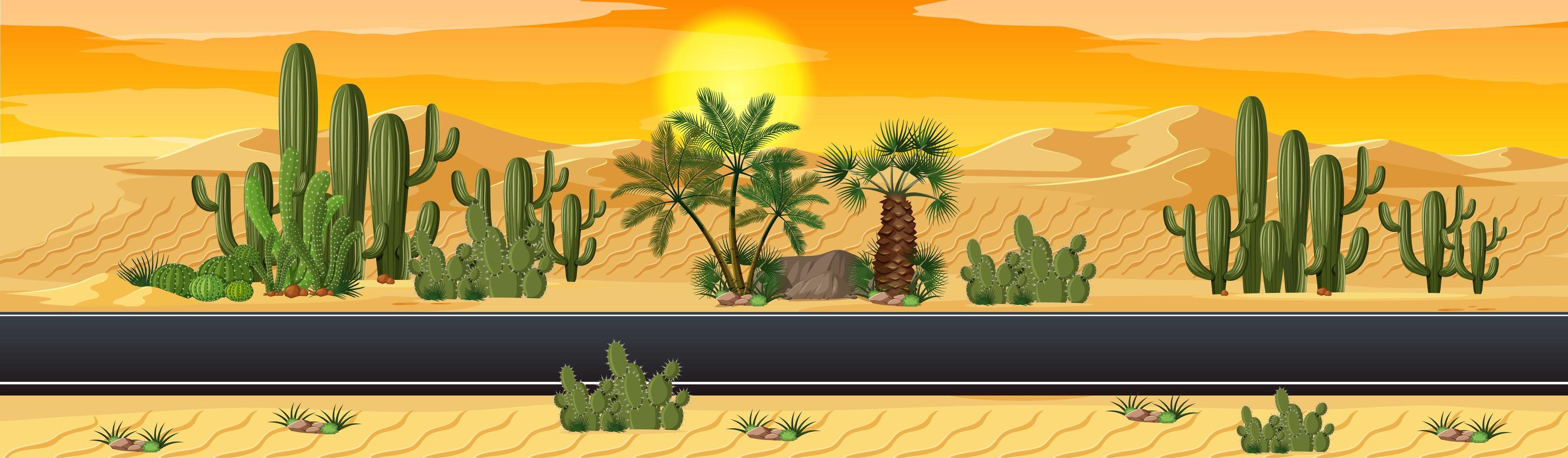 woestijn met het landschapsscène van de wegnatuur vector
