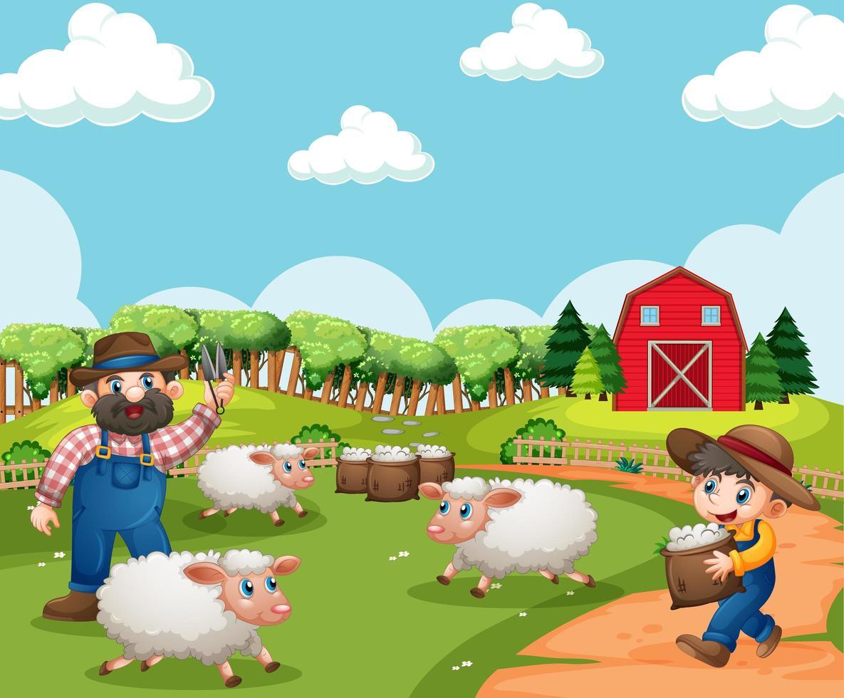 boerderij met rode schuur en windmolenscène vector