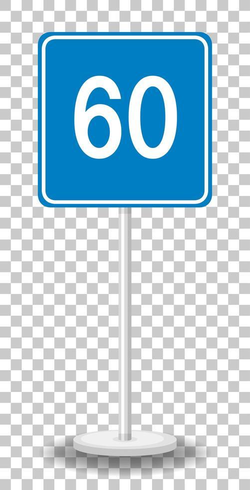 blauwe minimumsnelheid 60 verkeersbord met standaard geïsoleerd op transparante achtergrond vector