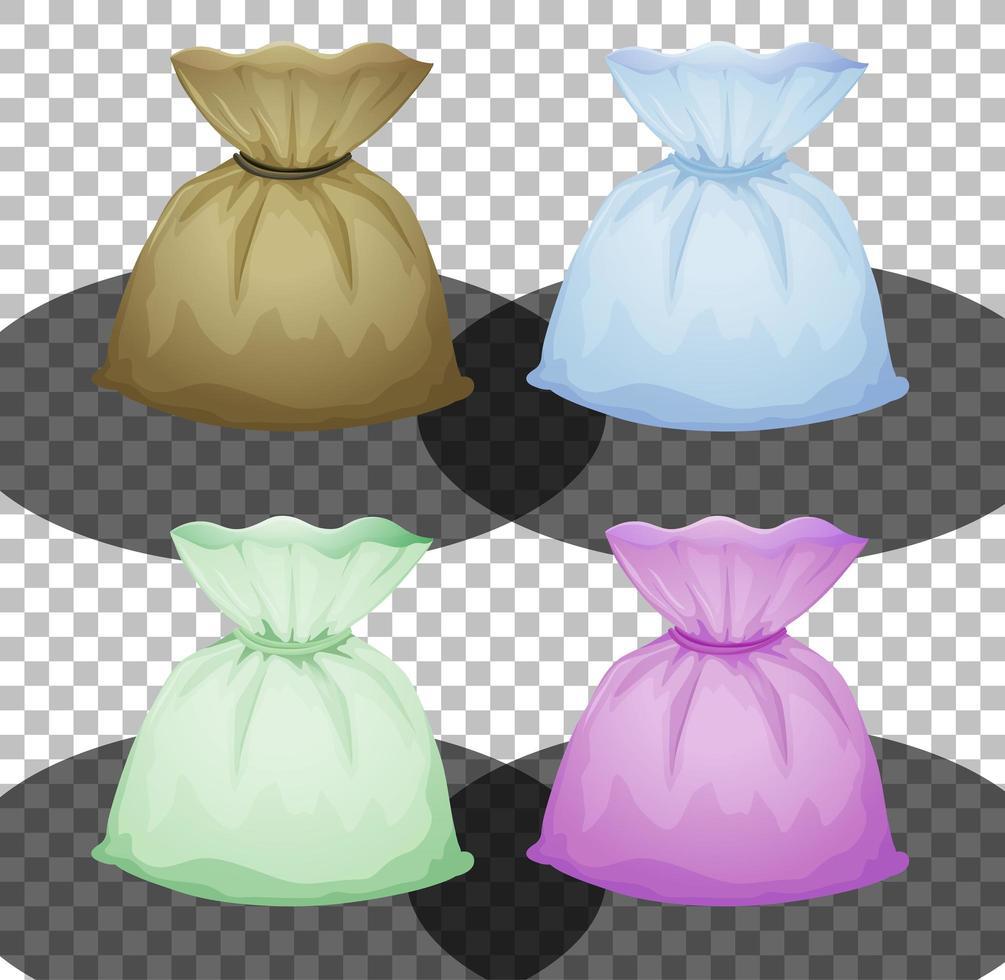 set van verschillende zakjes in geïsoleerde kleur vector