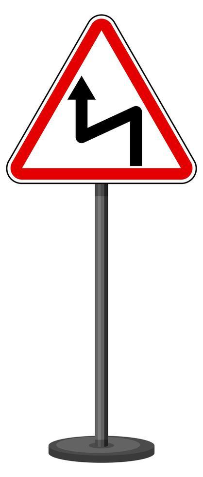 linker omgekeerde bocht bord met standaard geïsoleerd op een witte achtergrond vector