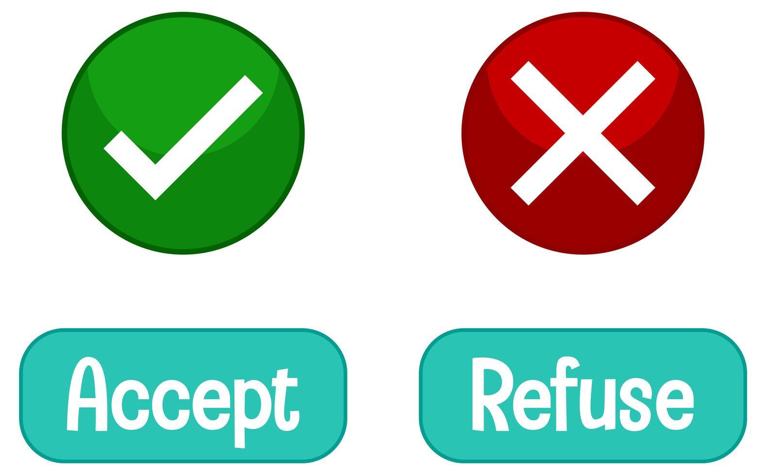 tegengestelde woorden met accepteren en weigeren vector