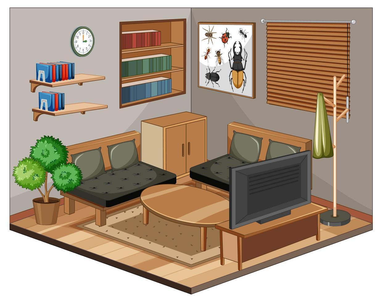 woonkamerbinnenland met meubilair vector