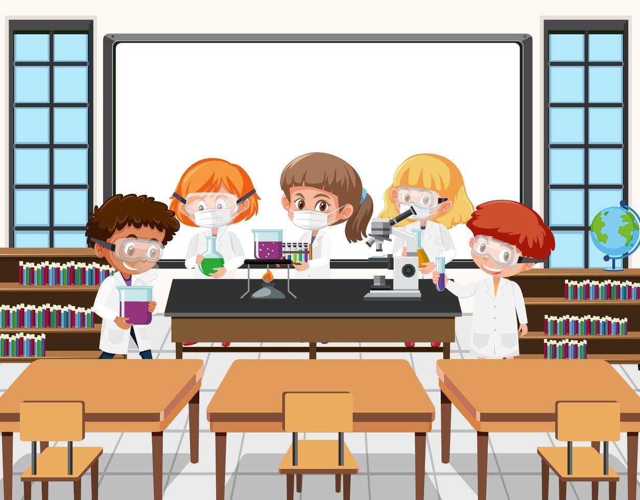 jonge studenten die wetenschappelijk experiment doen in de klas vector
