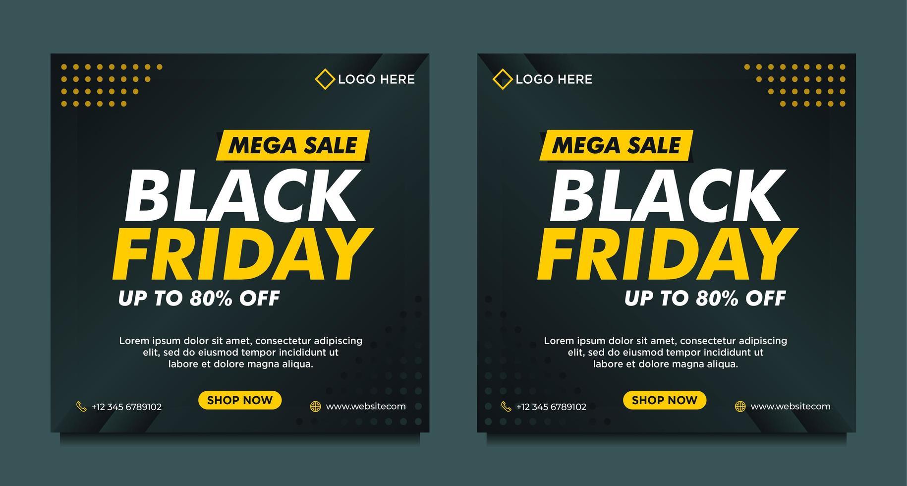 zwarte en gele zwarte vrijdag verkoop sociale mediasjablonen vector