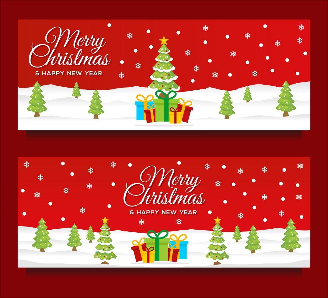 kerst- en nieuwjaarsbannersjablonen met winters tafereel vector