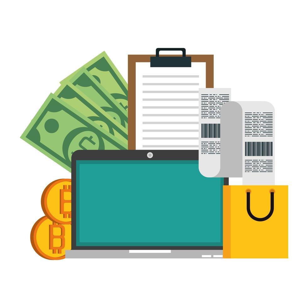 bitcoin, cryptocurrency en online betaling vector