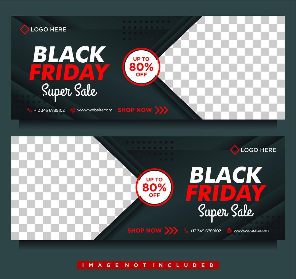 zwarte vrijdag mega-verkoopbanners in zwart en rood vector