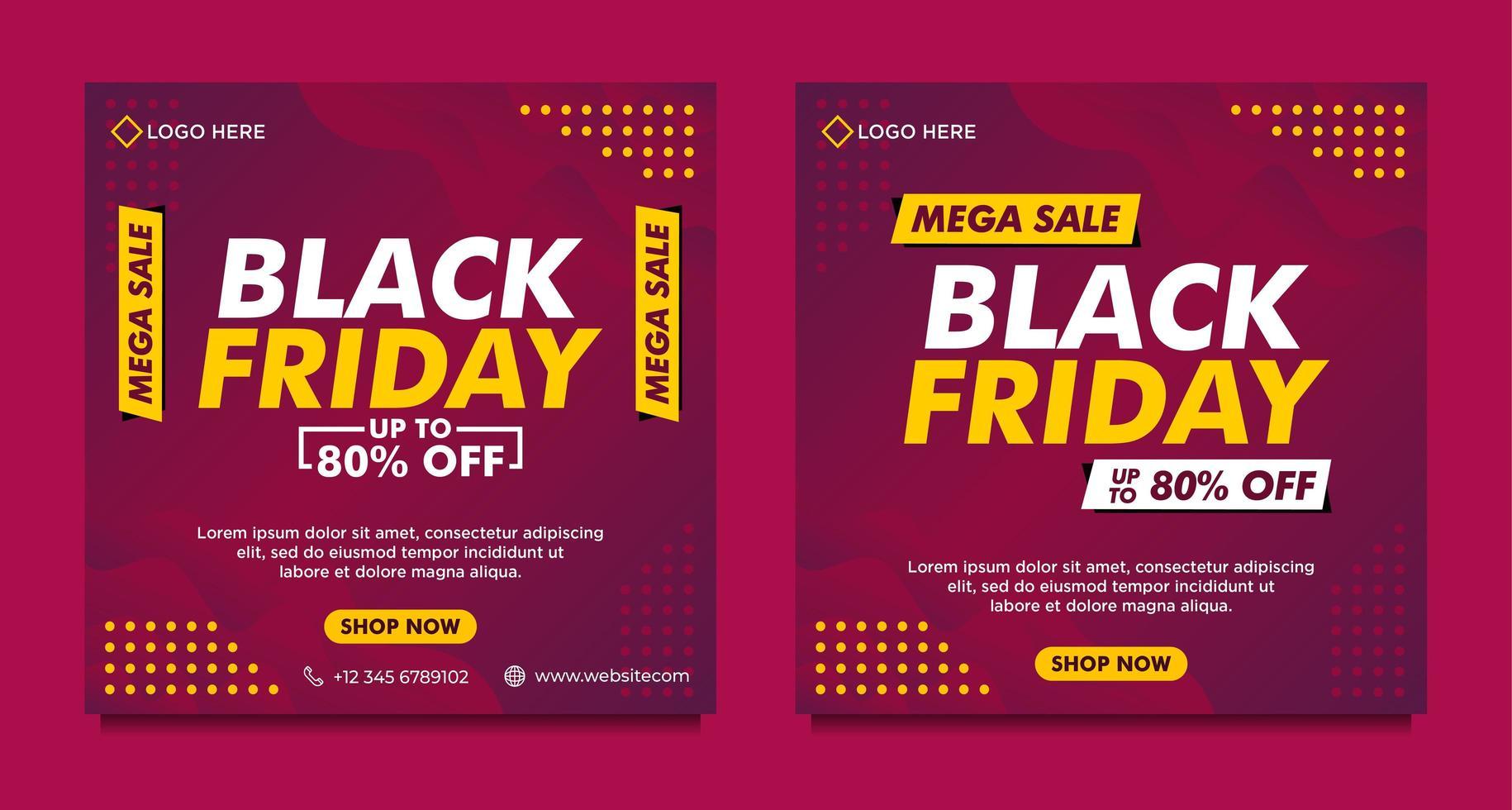 paarse gradiënt zwarte vrijdag verkoop sociale media banner sjablonen vector