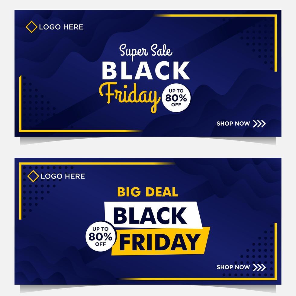 zwarte vrijdag verkoop banner in blauw en geel vector
