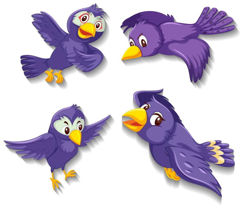 schattige paarse vogel stripfiguur vector