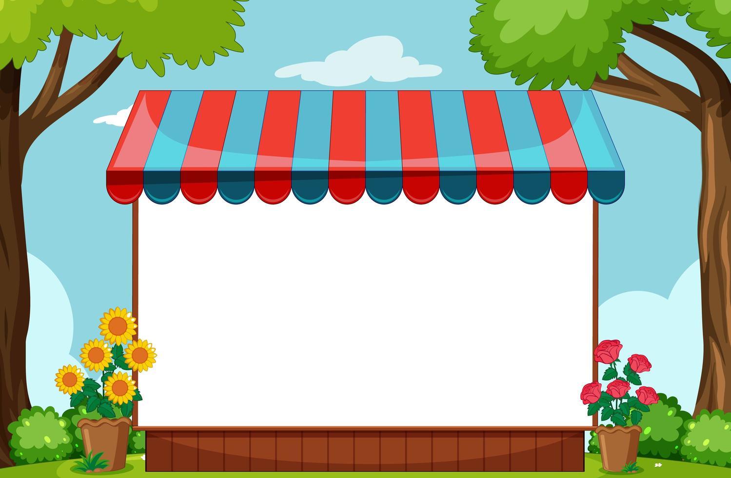 lege banner met luifel in natuurparkscène vector