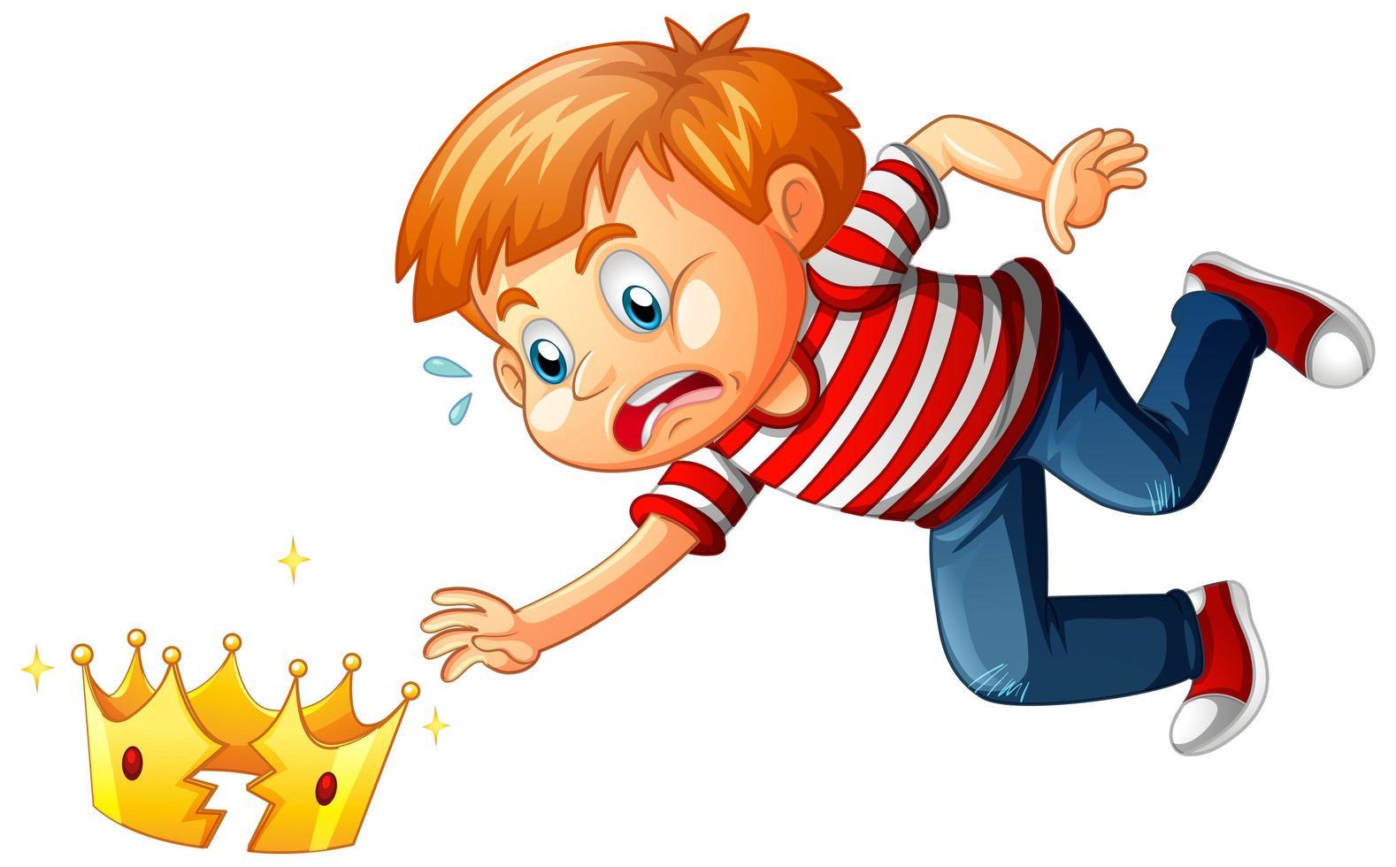 een jongen met gebroken kroon op witte achtergrond vector