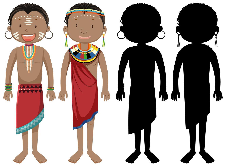 mensen van afrikaanse stammen karakter en silhouet vector