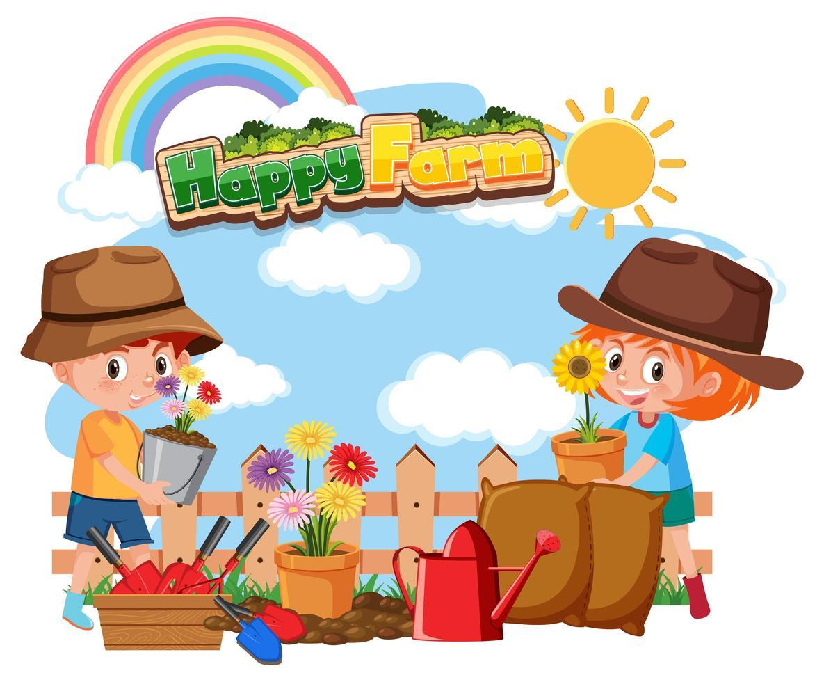 gelukkige boerderijtekst met gelukkige kinderen tuinieren vector