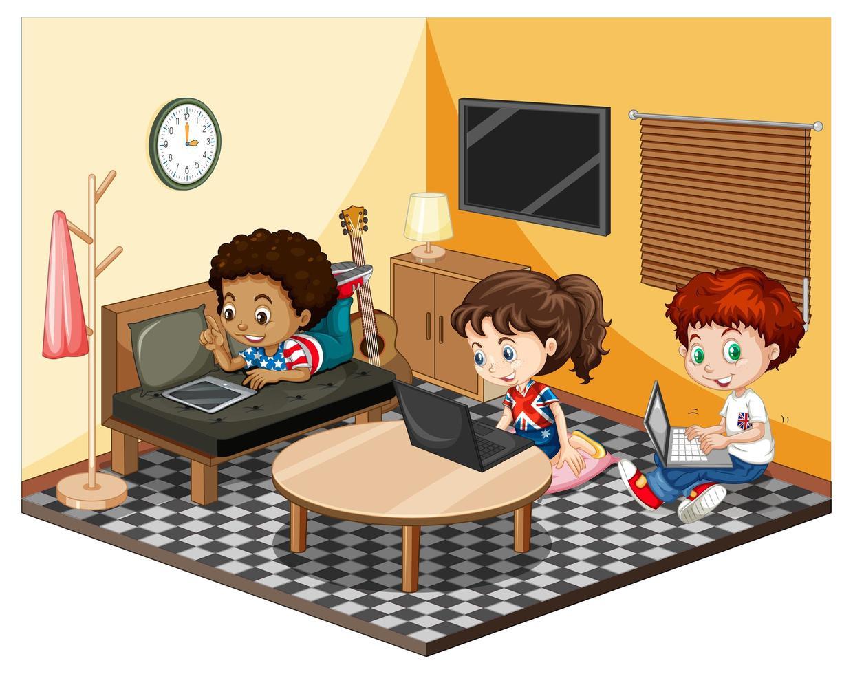 kinderen in de woonkamer in gele themascène vector