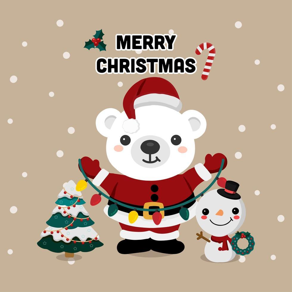 kerstbeer en sneeuwpop met decoraties vector