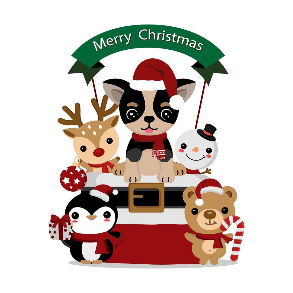 schattige kerstchihuahua en dierenvrienden vector