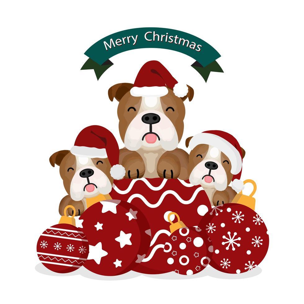 kerststierenhonden in kerstmuts en ornamenten vector