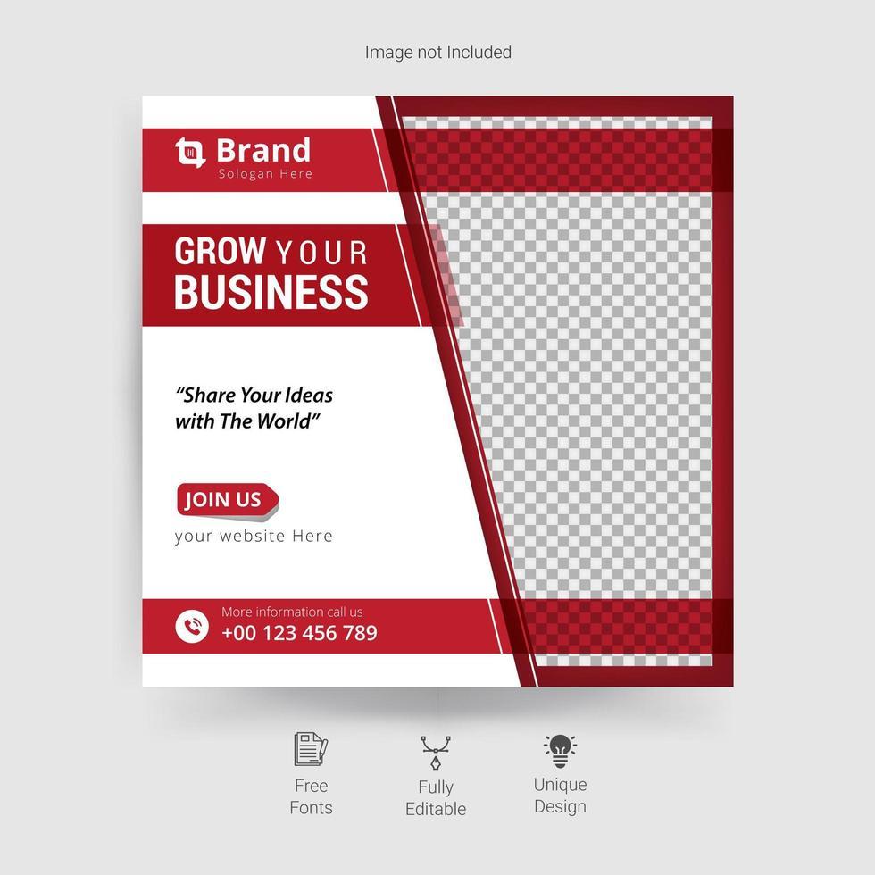 zakelijke sociale media-sjabloon in rood en wit vector