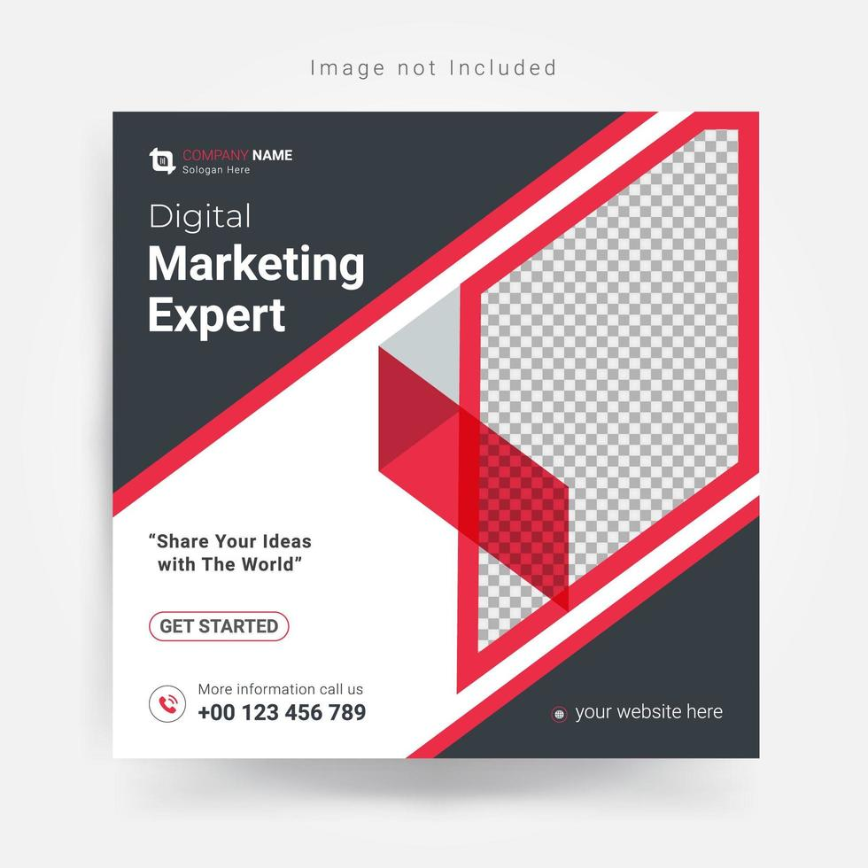 marketing social media-sjabloon in grijs en rood vector