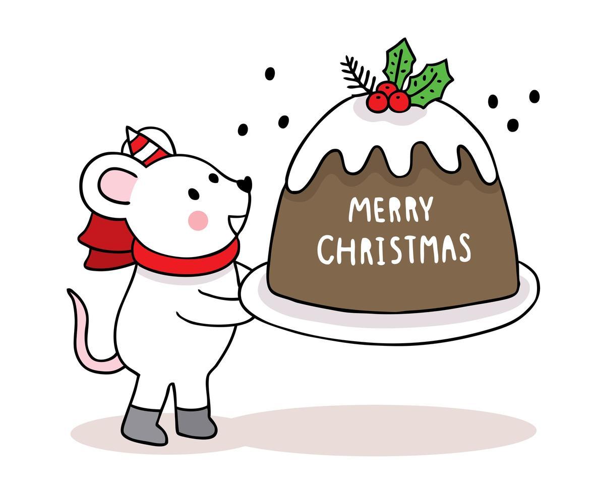 handgetekende kerstmuis en grote cake vector