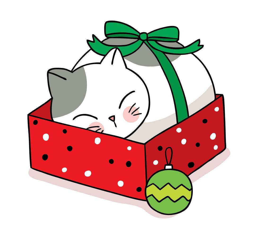 hand getekend kat slapen in kerst geschenkdoos vector