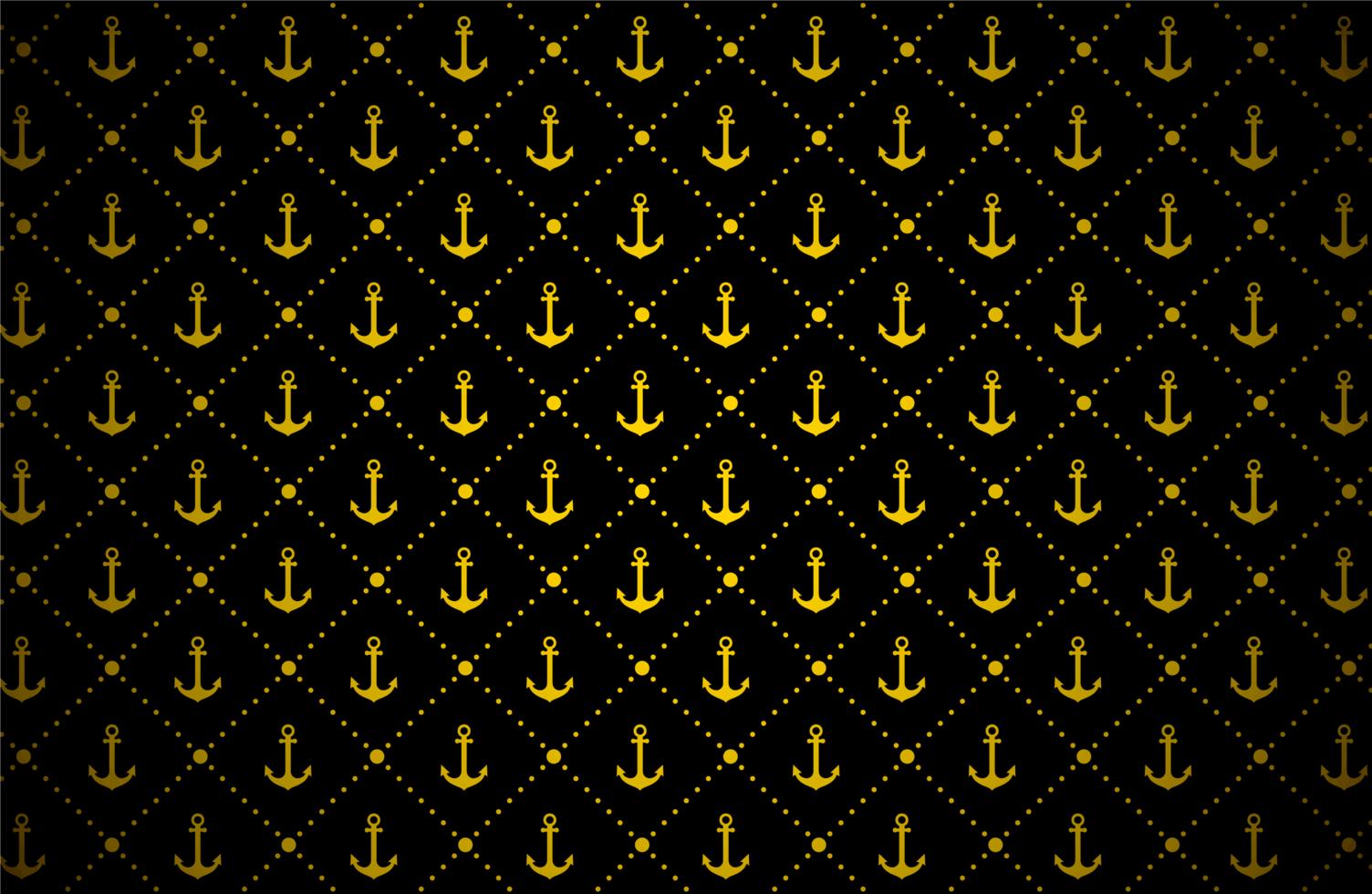gouden ankerpatroon op zwart vector
