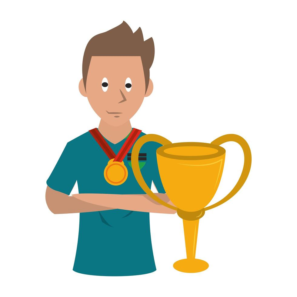 voetbalspeler met trofee vector