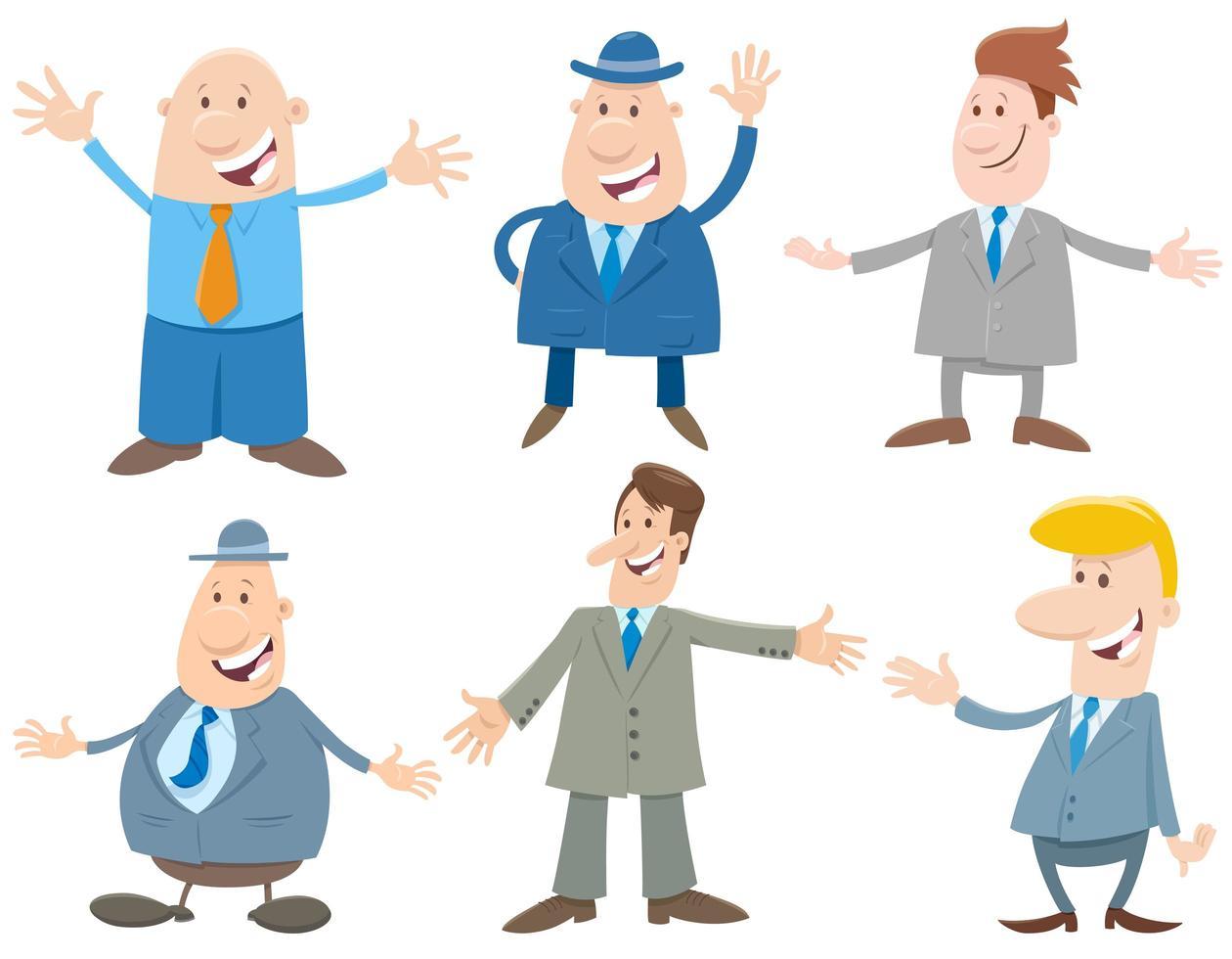 zakenlieden of mannen stripfiguren instellen vector