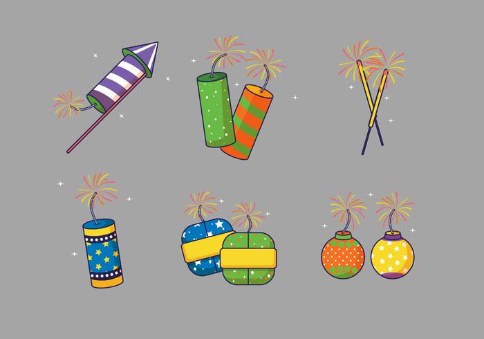 Set Van Diwali Crackers Vectorillustratie vector