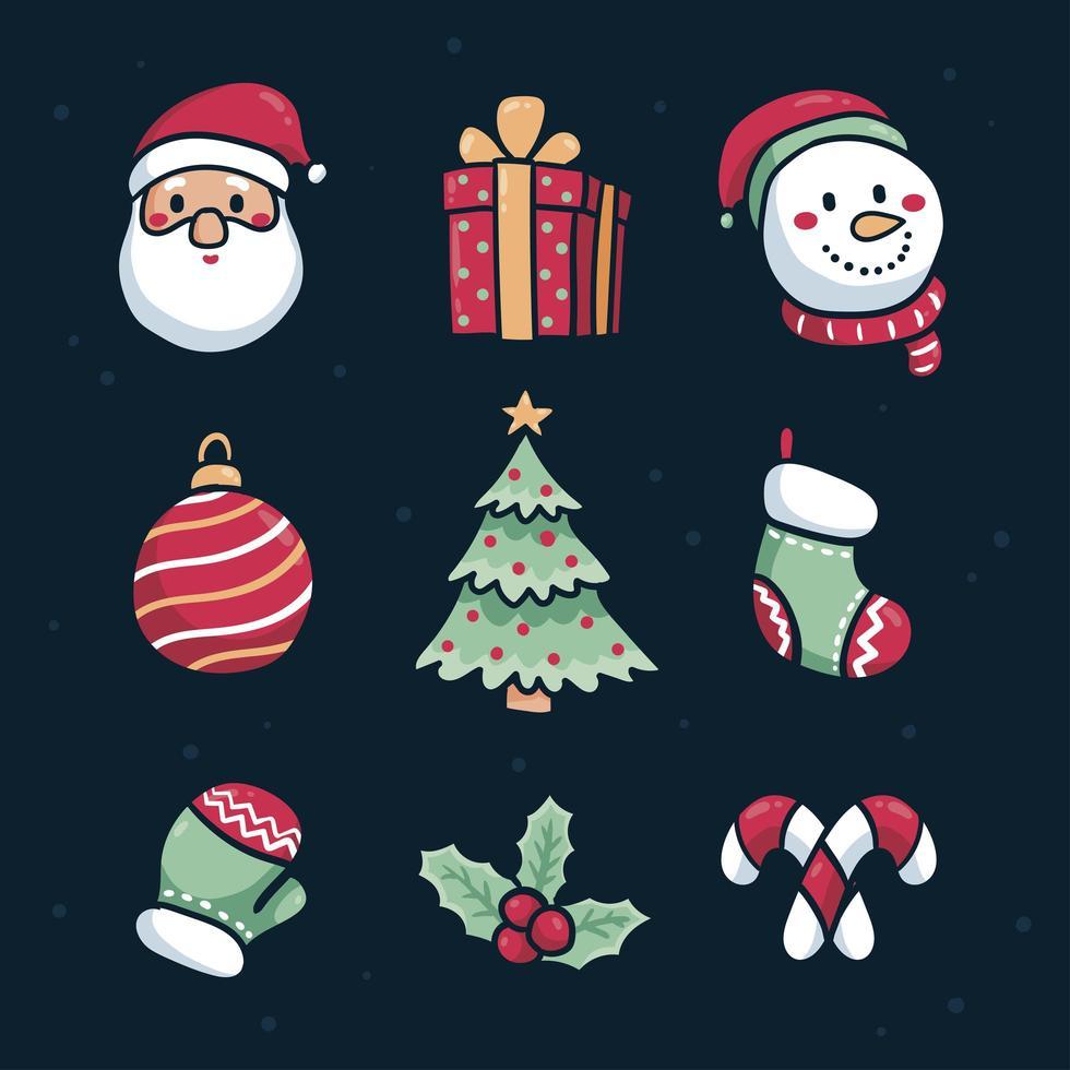 hand getekend kerst icon set vector
