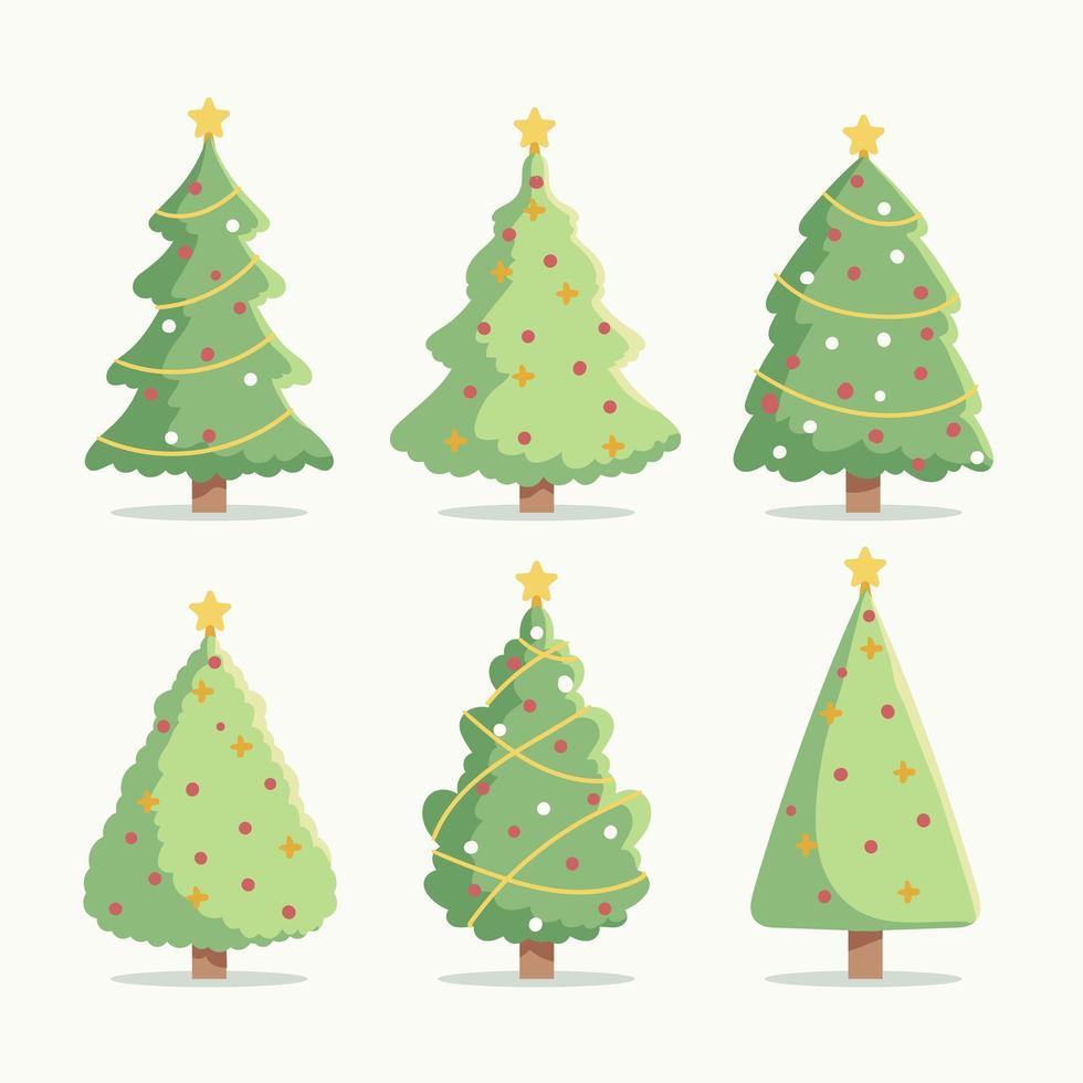 platte kerstboom iconen set vector