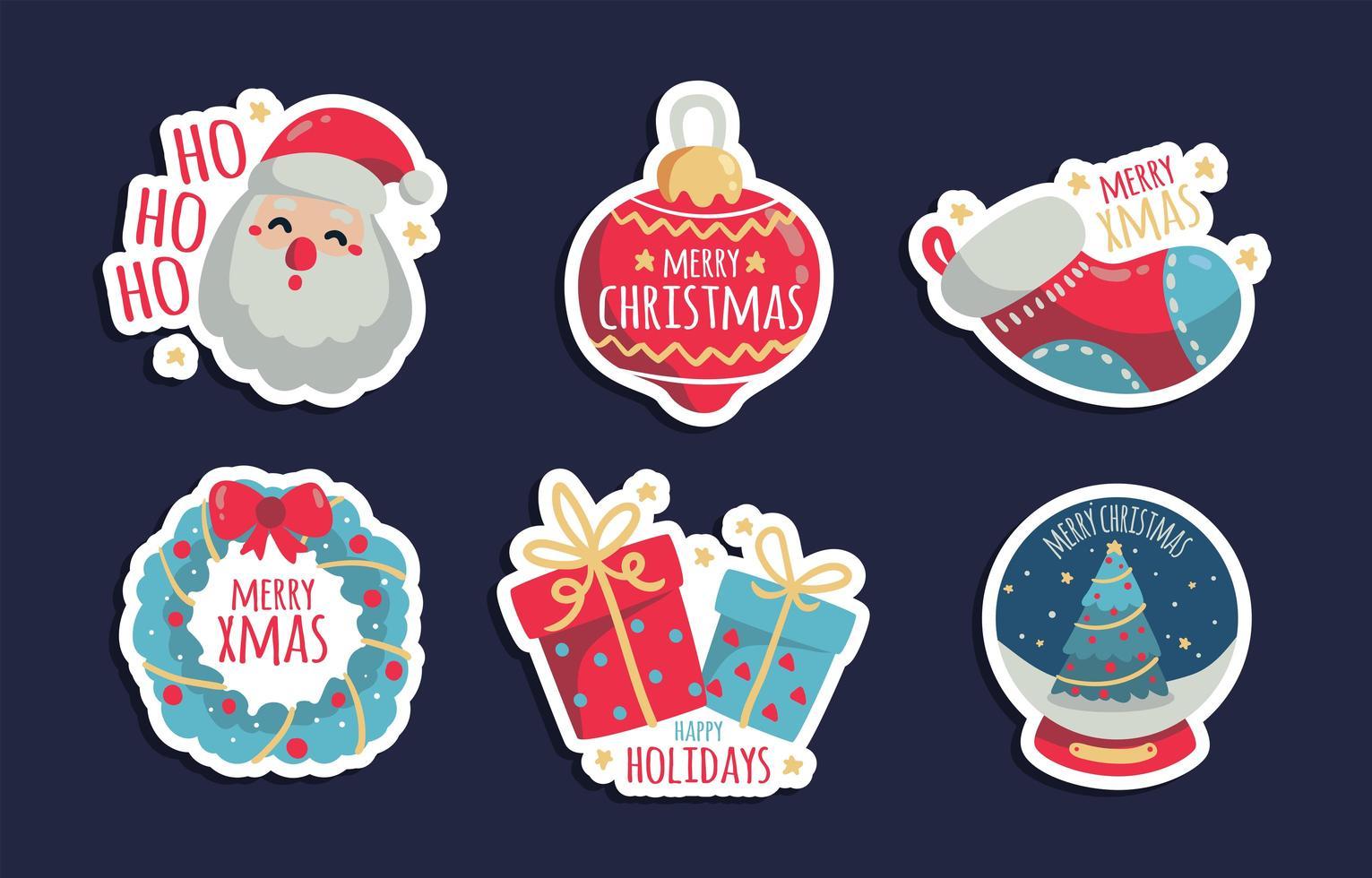kleurrijke kerst sticker set vector