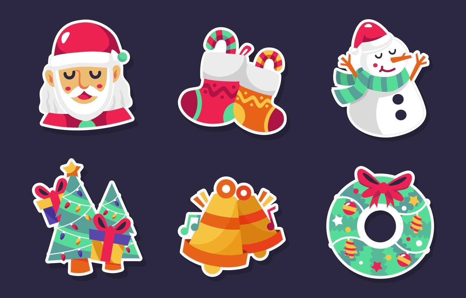 kerst stripfiguur stickers vector