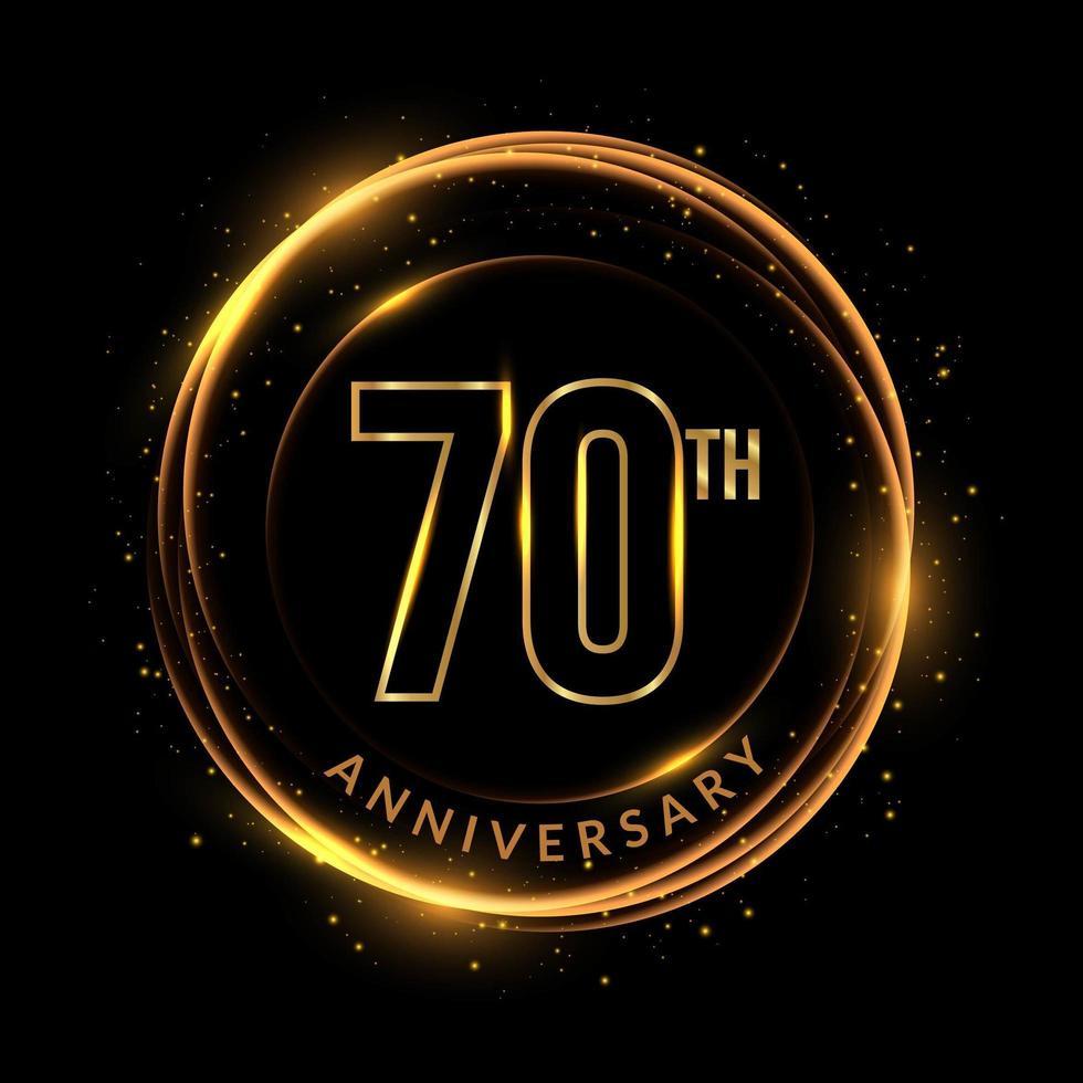 glinsterende gouden 70e verjaardagstekst in cirkelvormig frame vector